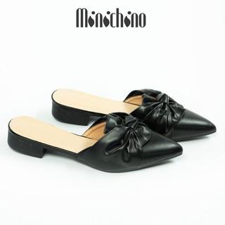 Giày sục nữ gót cao 3cm MINICHINO xoắn nơ mũi nhọn thời trang hở gót màu đen TC019 thumbnail