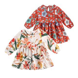 Đầm Sanlutoz Phong Cách Công Chúa Dài Tay Bằng Chất Liệu Cotton Họa Tiết Hoa Dành Cho Bé Gái thumbnail