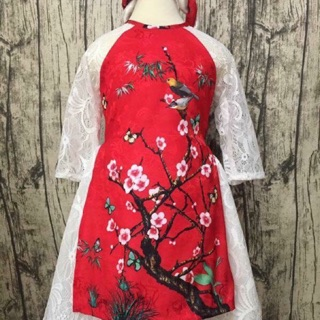 Áo dài dạng váy ren cho bé