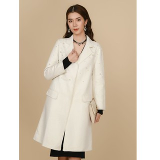 Áo măng tô dạ trắng hạt trai Elise thumbnail