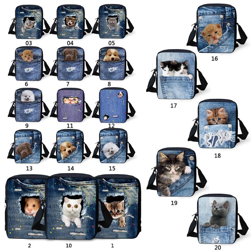 3D Animal Print Handbags Purse Women Men Crossbody Small Shoulder Travel Bags