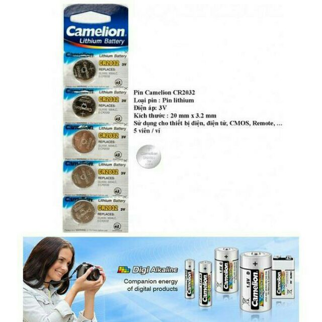Pin Camelion Lithium Battery CR2032 Giá chỉ 24.000₫