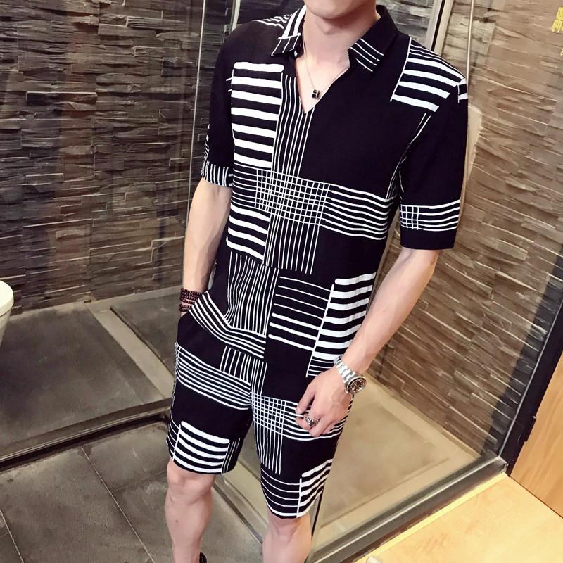 Wandergo Fancy Two Piece Summer Set Men Club Party Camisas Para Hombre Ensemble