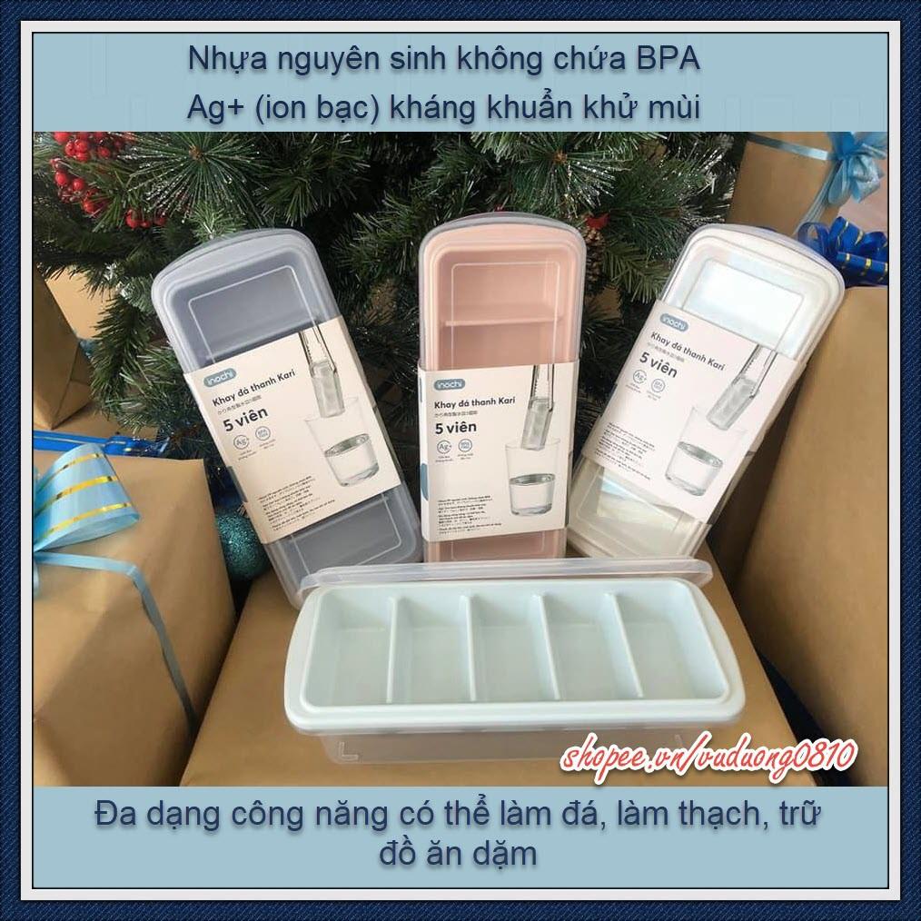 Khay làm đá thanh Inochi 5 viên (có nắp) - khay trữ đồ ăn dặm, BPA free