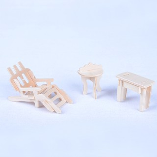Wooden Doll House Dollhouse Furnitures Jigsaw Puzzle Scale Miniature Models DIY Accessories Set,