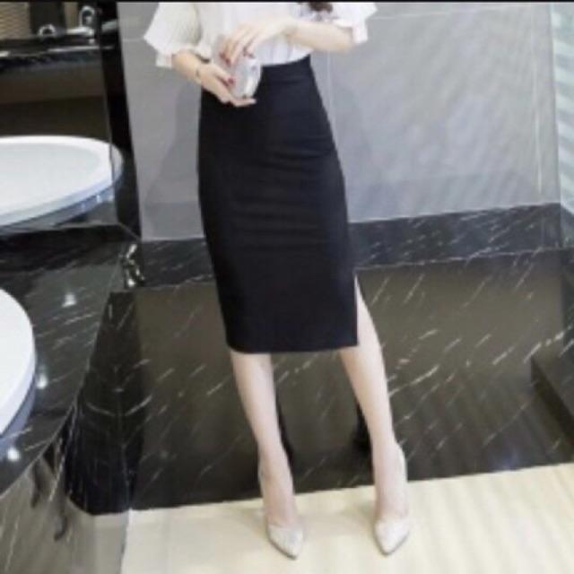 Chân váy bút chì công sở ( hình thật) xẻ bên hông