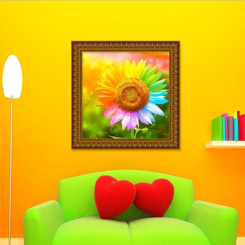 Tranh cườm mẫu hoa hướng dương khổ 60x60cm