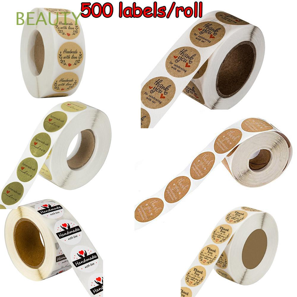 BEAUTY 500Pcs Cookie Bags Party Supplies Box Cards Paper Wedding Decor Kraft Stickers