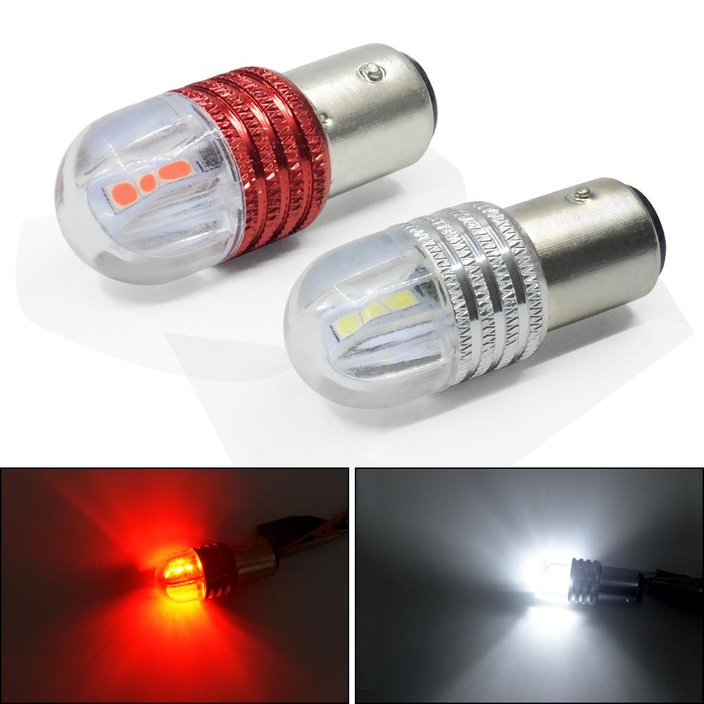 2pcs DC12 red white Auto Tail Stop Light auto 1157 led BAY15D P21W 5050 6smd  strobe flash light brake blink light Lamp