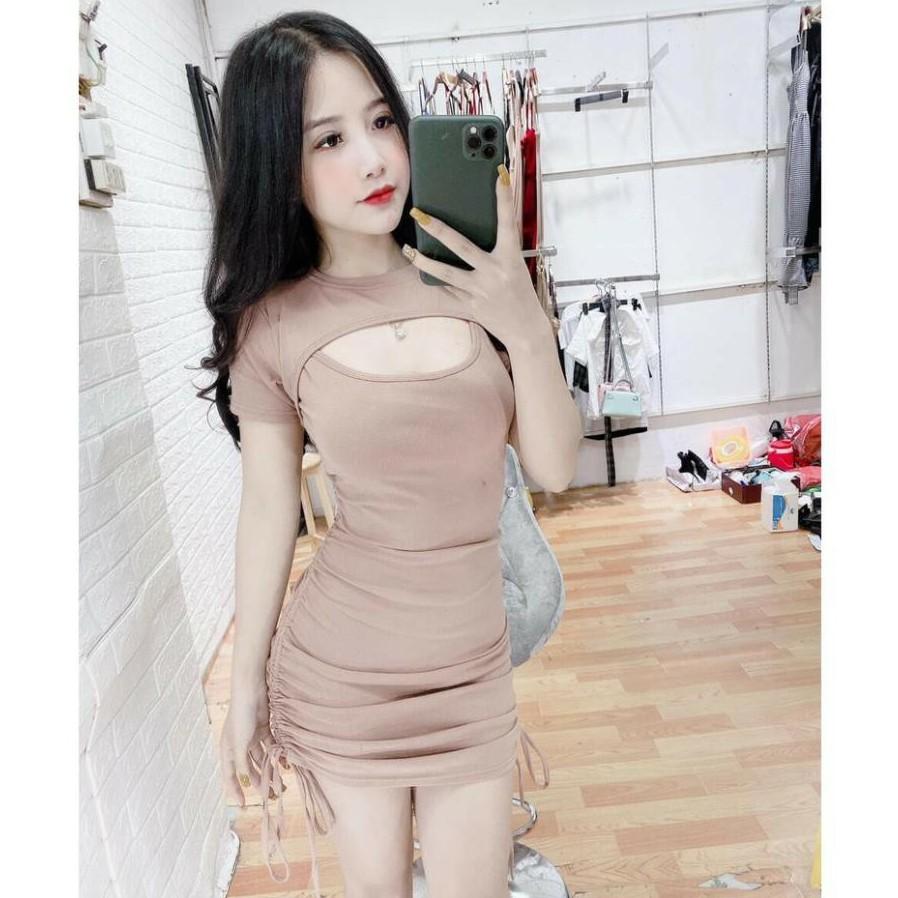 váy body khoét ngực rút 2 dây bên hông co giãn chất gân tăm