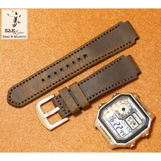 Dây đồng hồ da bò cho casio ae1200 whd và seiko 5 37mm - da sáp ngựa điên cực chất - RAM Leather thumbnail