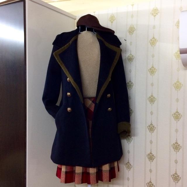Áo dạ lông cừu 2hand Hàn Quốc màu xanh than phối xanh rêu