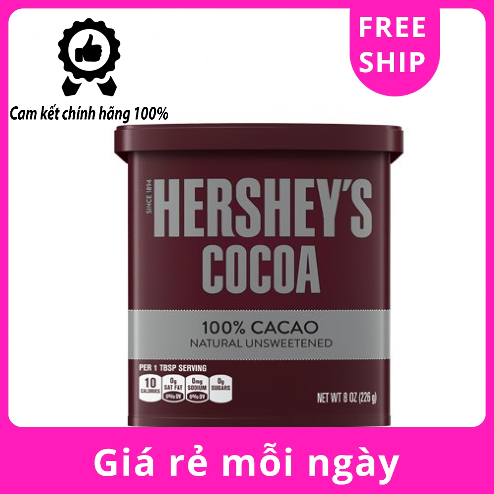 Bột Socola Nguyễn Chất Hershey's Cocoa 100% Cacao 226g (Made in USA)