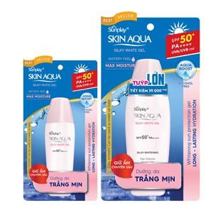 Sunplay Skin Aqua Silky White Gel SPF50, PA++++:Gel dưỡng da trắng mượt