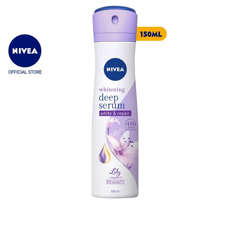 Xịt ngăn mùi Nivea serum trắng mịn hương hoa Lily (150ml) – 85312