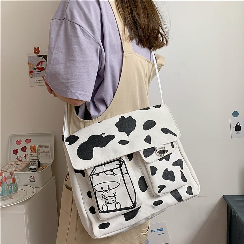 Túi tote đeo chéo hộp sữa bò sữa DINK Me unisex Hàn Quốc