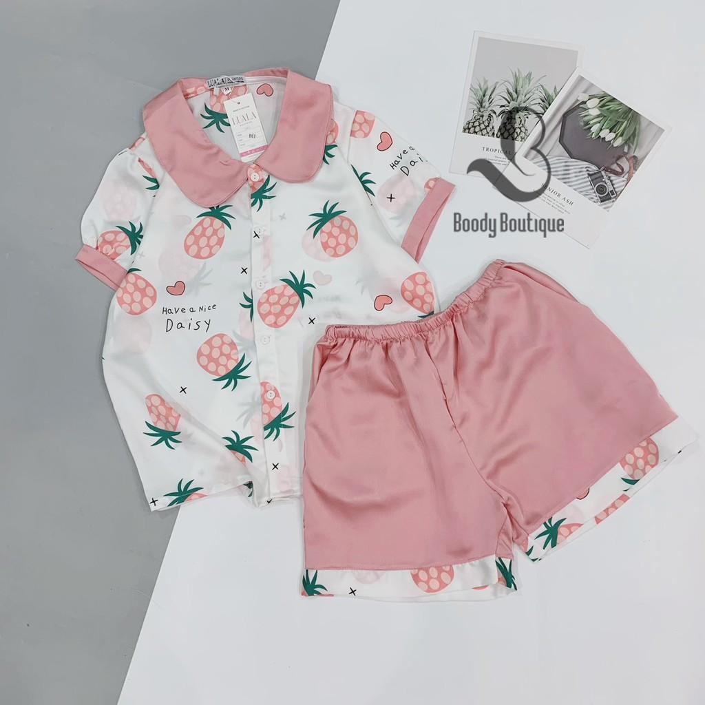 Đồ Ngủ Lụa Satin Cộc Đùi Dứa Trắng Hồng Pijama Bộ Mặc Nhà Boody BP03