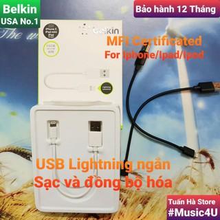 [Mã 2404EL10K giảm 10K đơn 20K] Cáp sạc ngắn Lightning Belkin cho Iphone/Ipad, chuẩn MFI [Music4U]