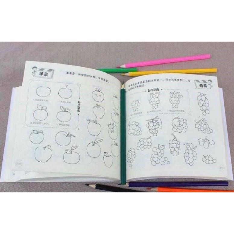 [ Tặng kèm 12 bút màu ] quyển sach 5000 hình tập vẽ và tô màu cho bé
