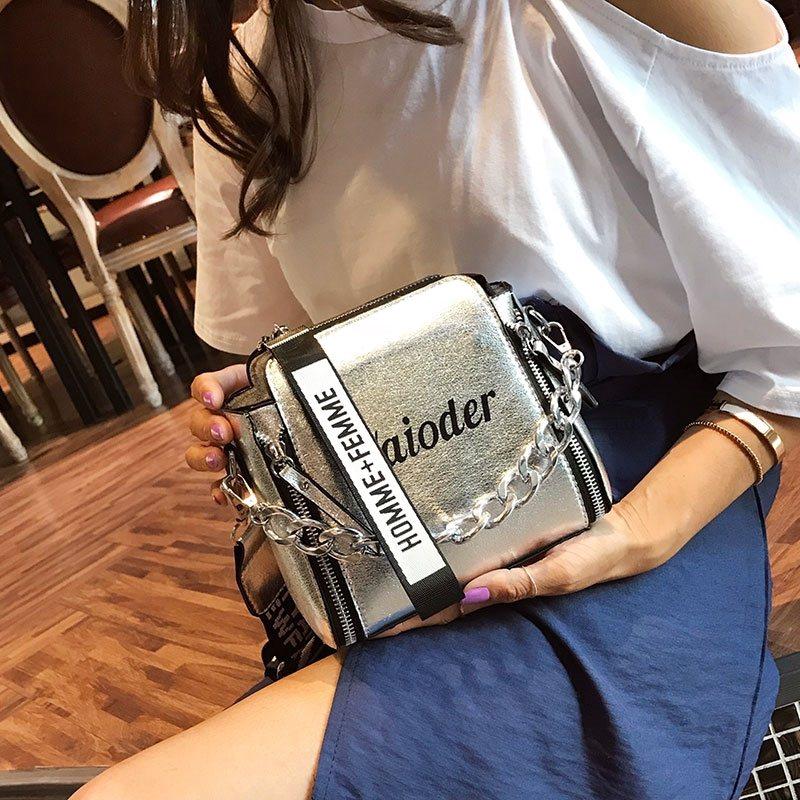 Túi xách nữ đeo chéo khóa sườn đai bản to - T839
