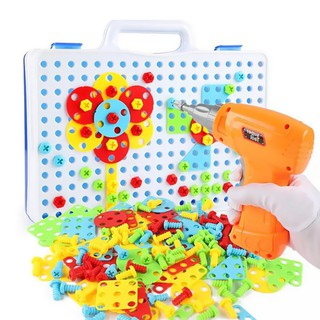 Educational Assembled Building Blocks Electric Drill Toy for Kids