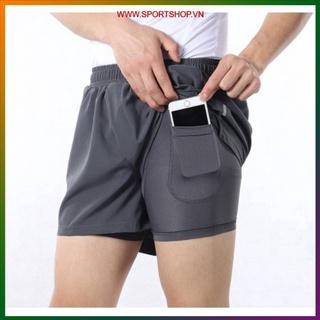 Quần chạy bộ nam ARSUXEO MS03, quần short thể thao 2 lớp (boxer) thiết kế 2 túi đa năng, siêu nhẹ, thoáng khí