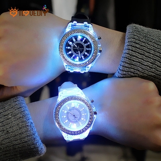 [Men Women Fashion Simple Style Flash Luminous Watches] [Ladies silicone Belt Quartz Watch] [Girls Minimalist Casual Watch]