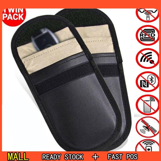 2 Pcs Car Key Signal Blocker Case Faraday Cage Fob Pouch Keyless RFID Blocking Bag