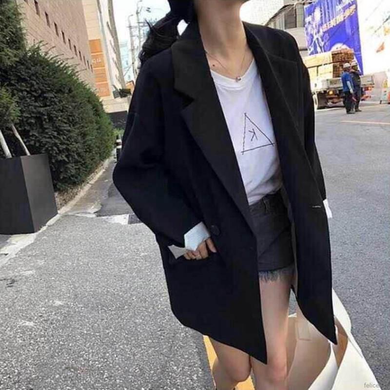 Áo Blazer tay dài màu trơn cho nữ