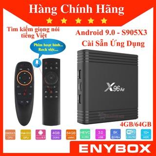 ENYBOX X96 Air 4GB/64GB S905X3 Android TV Box Cấu Hình Khủng Giá Rẻ Tìm Kiếm Giọng Nói Tiếng Việt
