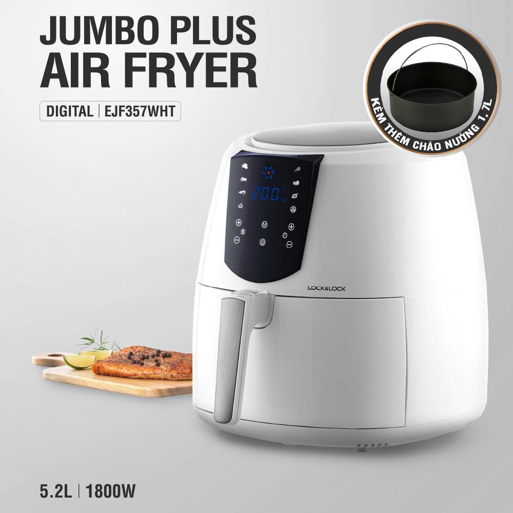 Nồi Chiên Không Dầu Lock&Lock Jumbo Plus Air Fryer 5.2L Màu trắng EJF357WHT