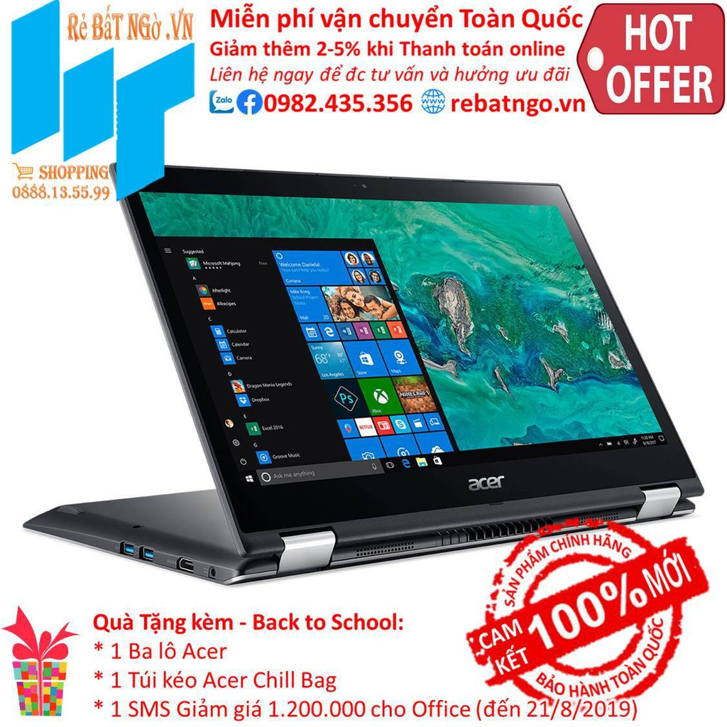 Laptop Acer Spin 3 SP314-51-51LE NX.GZRSV.002 14 inch FHD_i5-8250U_4GB_UHD 620_Win10_1.7 kg