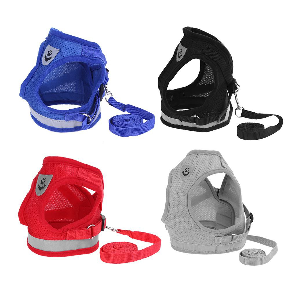 Dog Harness Vest Reflective Walking Lead Leash for Puppy Dogs Polyester Mesh Harness for Small Dog