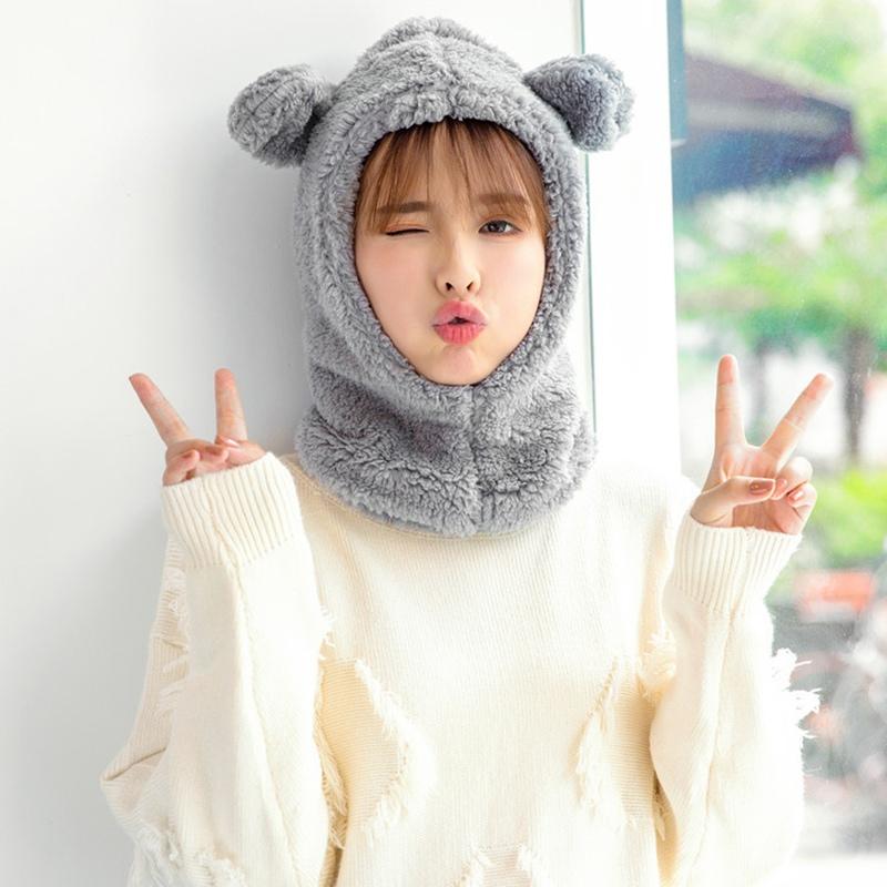 Mũ Len Trùm Đầu Hình Tai Gấu Đáng Yêu Cho