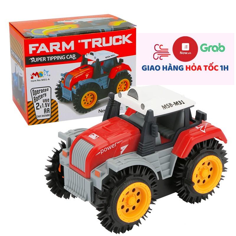 Xe ô tô đồ chơi chạy pin,xe tải nông trại cho bé, chạy bằng 2 viên pin AA (màu đỏ -chưa kèm pin)