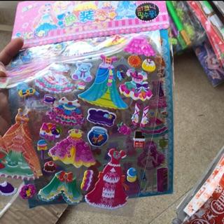 Combo 10 tờ dán 3d công chúa bằng nhựa tờ kép (như hình)