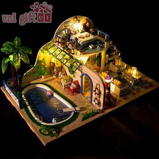 Mô hình nhà gỗ DIY – Nhà bể bơi – Đồ chơi DIY – Unigift – Mã M100