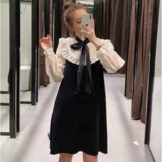 Váy đũi phối len + nơ cổ PYT