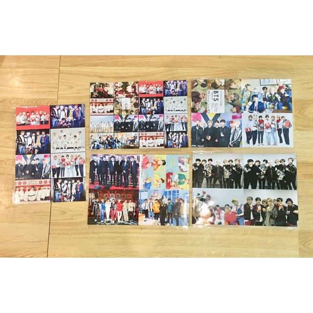 Combo 5 ảnh dán khổ A4 BTS , ảnh poster 1,4,8,16 ảnh trên 1 tờ ngẫu nhiên