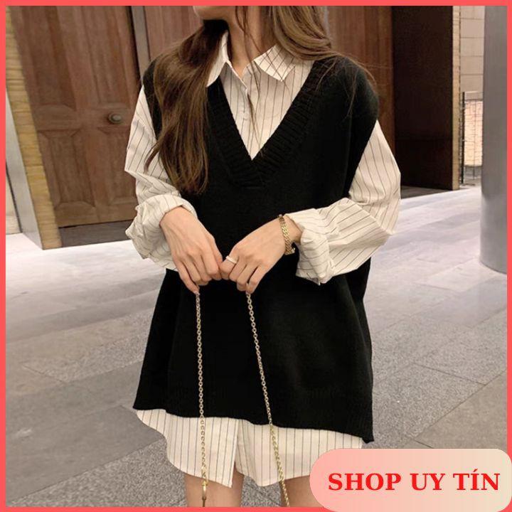 [Order Taobao] Set Áo Sơ Mi Nữ + Gile Len