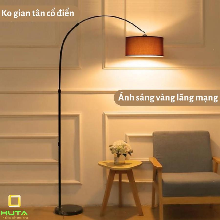 Đèn Cây Đứng Phòng Khách Cao Cấp, Dùng Làm Đèn Sàn Trang Trí Nội Thất, Phòng Ngủ, Bóng Led, Chao Vải, Mã D2– HUTA shop