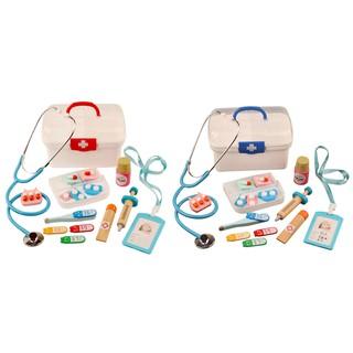 16Pcs Children Pretend Play Doctor Toys Kids Wooden Medical Kit Simulation Medicine Chest Set For Ki