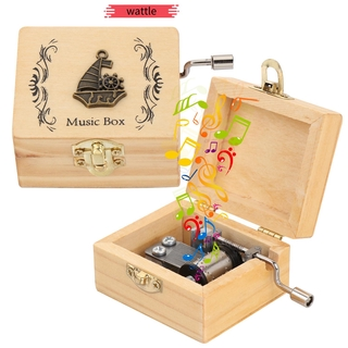 WATTLE Mother s Day Wooden Hand Crank Birthday Antique Engraved Music Box Classical Thanksgiving Day Memorial Gifts Valentine s Day Musical Boxes thumbnail
