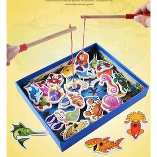 Bộ đồ chơi câu cá 💖 FREESHIP Từ 250K 💖 bộ đồ chơi câu cá nam châm bằng gỗ an toàn tiện dụng cho bé thỏa sức vui chơi