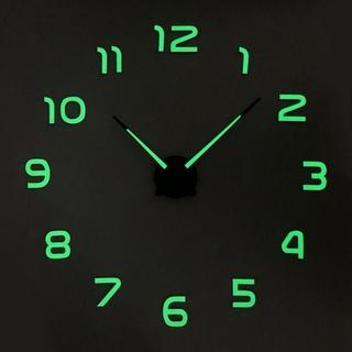 Đồng hồ dán tường 3D dạ quang tự làm không khung không gây ồn bằng acrylic phong cách hiện đại trang trí nhà cửa