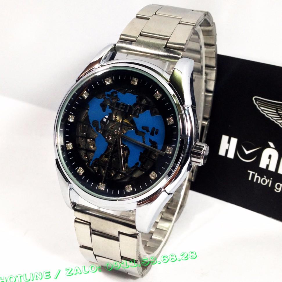 Đồng hồ CƠ nam mặt bản đồ dây ionx LEIYI 5566A