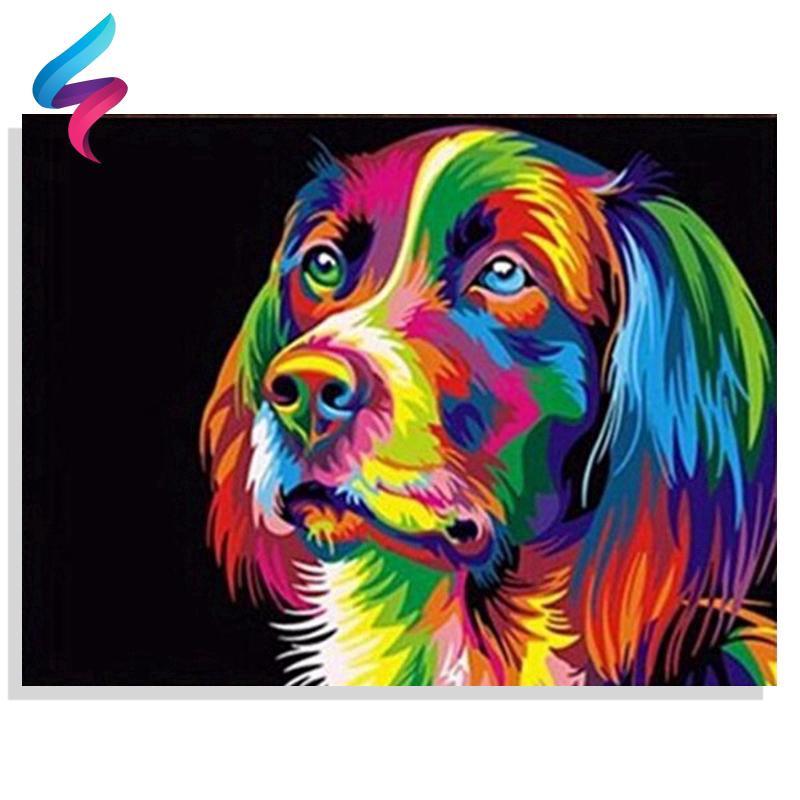 Tranh vẽ DIY chú chó độc đáo kèm phụ kiện mã số 7084