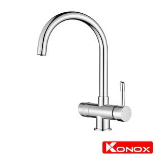 Vòi rửa bát 3 đường nước KONOX Trim-water hợp kim đồng 61% tiêu chuẩn Châu Âu CW617N, bề mặt xử lý công nghệ PVD Chrome
