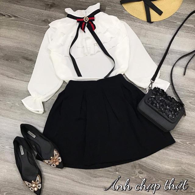 Set chân váy kèm áo sơmi tag chanel