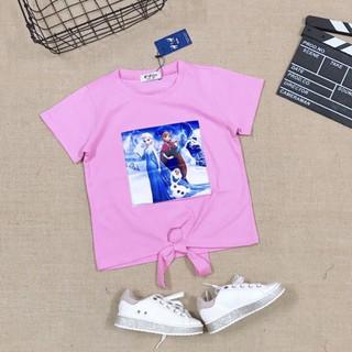 Áo thun bé gái Elsa màu hồng size đại hàng Việt Nam mềm mát rất xinh áo Elsa cho bé gái